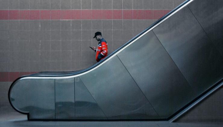 La foto no representa precisamente la realidad; el metro de Atenas suele estar hasta los topes