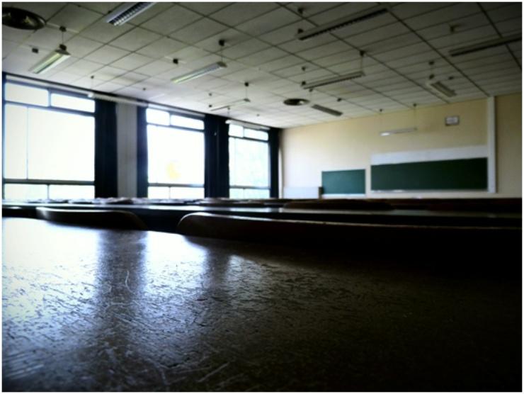 Un aula vacía del campus.