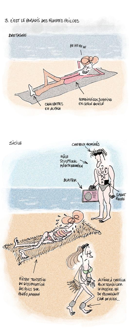 Per quelli che non sanno il francese: Fiamma, partita in vacanza in Bretagna, ne racconta svantaggi e vantaggi servendosi del paragone con le vacanze al mare in Sicilia.