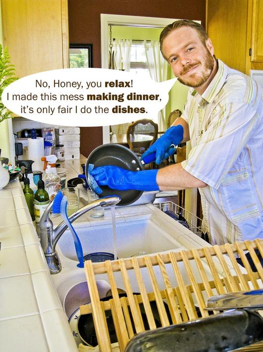 """Un mirage en 2012 ? Car selon les auteures, un homme ferait la vaisselle """"parce que c'est la Journée de la Femme !"""""""