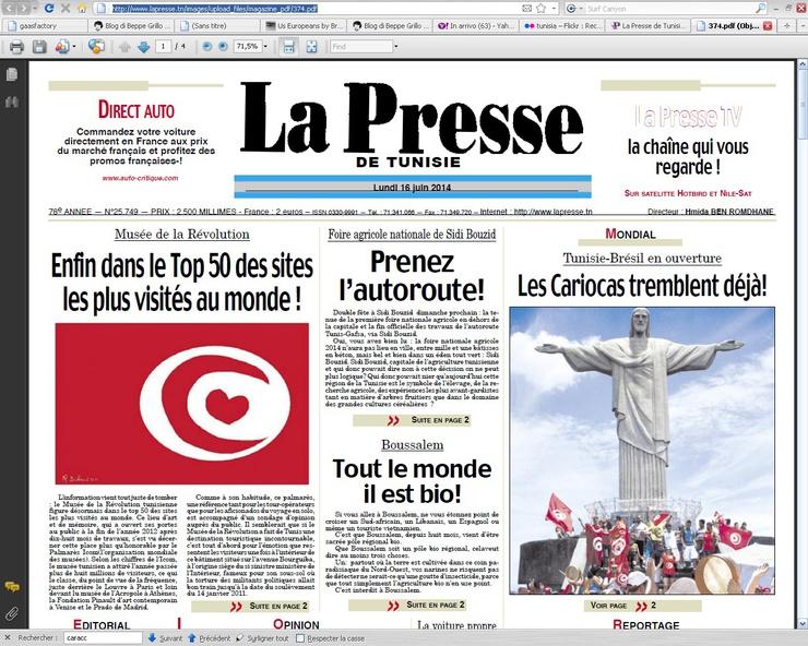 Avec une édition spéciale, le quotidien tunisien s'est projeté en 2014