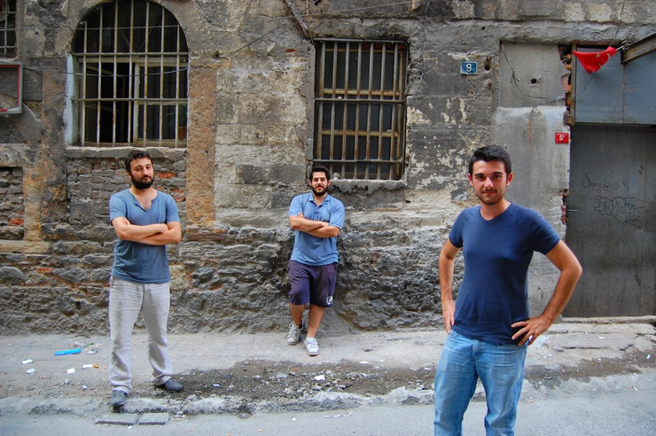 Pictured outside a vacant former Ottoman bank where the boys use a room to work in. We are in Beyoglu, an outgoing neighbourhood affected by a year-old ban on outdoor drinking