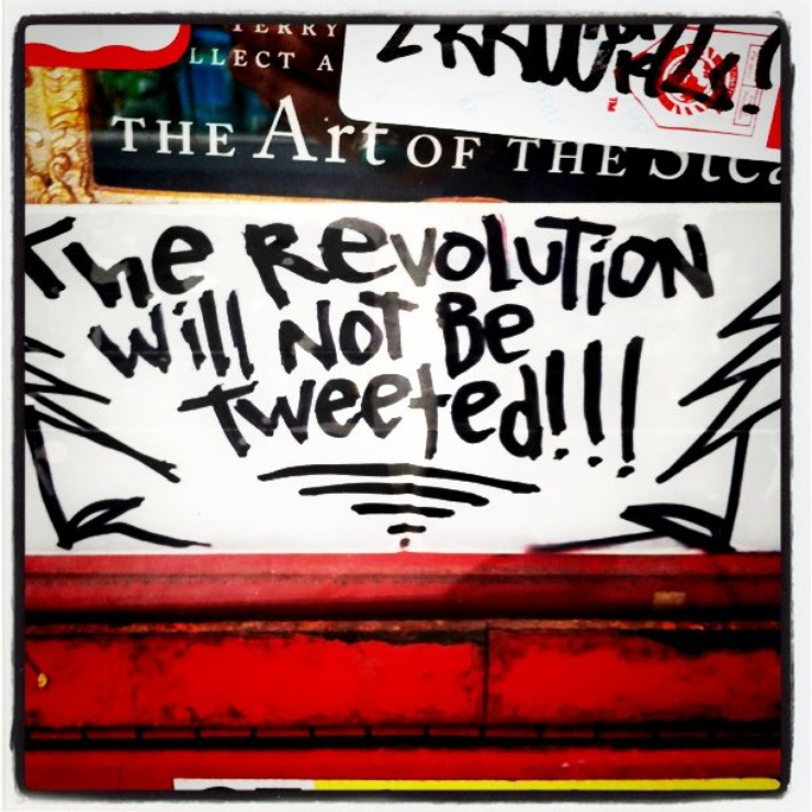 Reference to his 1970 original poem 'The Revolution Will Not Be Televised'