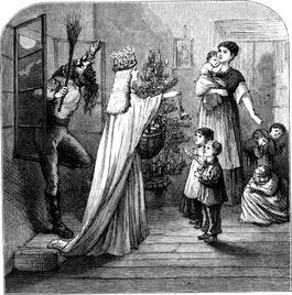 Père Fouettard pyta rodziców, czy ich dzieci były w tym roku grzeczne.
