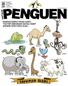 Penguen hievte gleich einen ganzen Erdoğan -Zoo auf den Titel, das Satiremagazin Leman antwortete mit einem Cover voller Erdoğan -Gemüse.