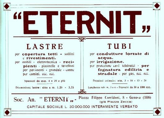 Il cemento-amianto è stato brevettato da un austriaco nel lontano 1901. È causa di malattie mortali