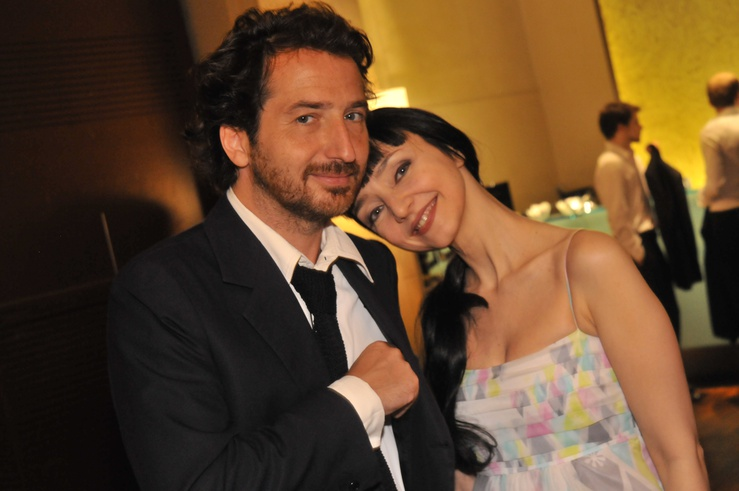 The Pulp Fiction actress with French co-star Edouard Baer