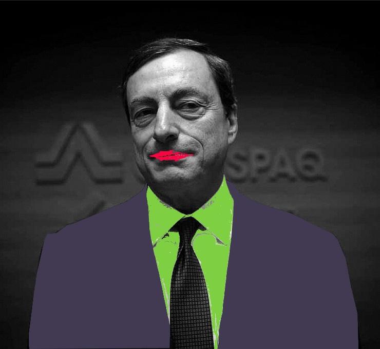 Imagen maqueada del presidente del Banco Central Europeo con motivo de los anti-Nobel en cafebabel.com.
