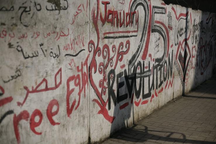 Diese Seitenstraße des Tahrir-Platzes seit Beginn der Revolution im Januar 2011 allerdings schon