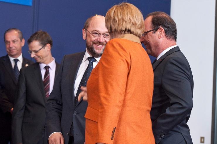 Martin Schultz, François Hollande et Angela Merkel.
