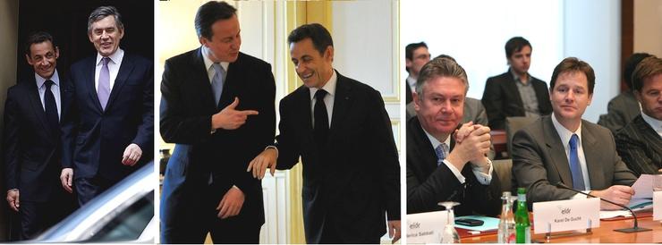 Gordon Brown, David Cameron e Nick Clegg