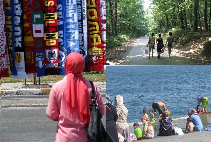Mientras que algunas acatan un papel secundario, otras —como las jóvenes que practican deporte en el Bosque de Belgrado— muestran una actitud luchadora a fin de superar la visión tradicional de la mujer en Turquía.