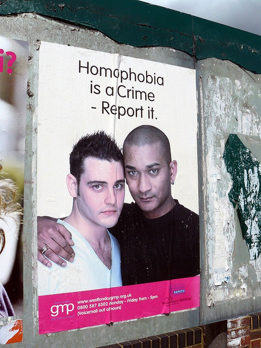 Campaña del grupo GMP (Gay men's project) en Londres