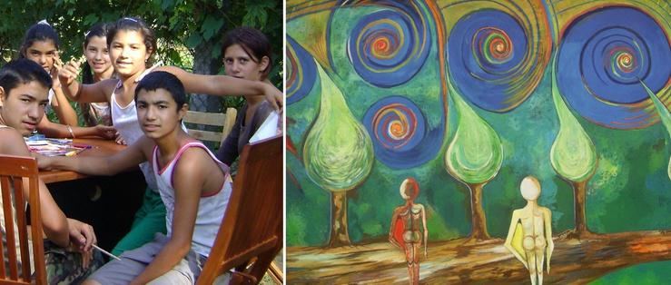 Aquí, el pintor János Horváth anima a la gente a expresar su talento artístico