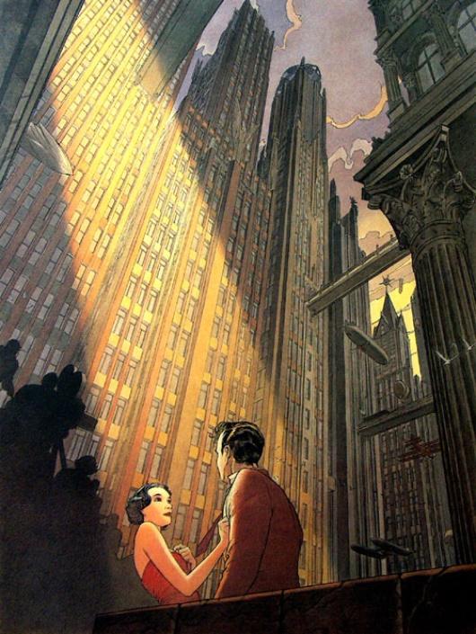 L'obscurité et les gratte-ciels sont des signes de la vision pessimiste du dessinateur