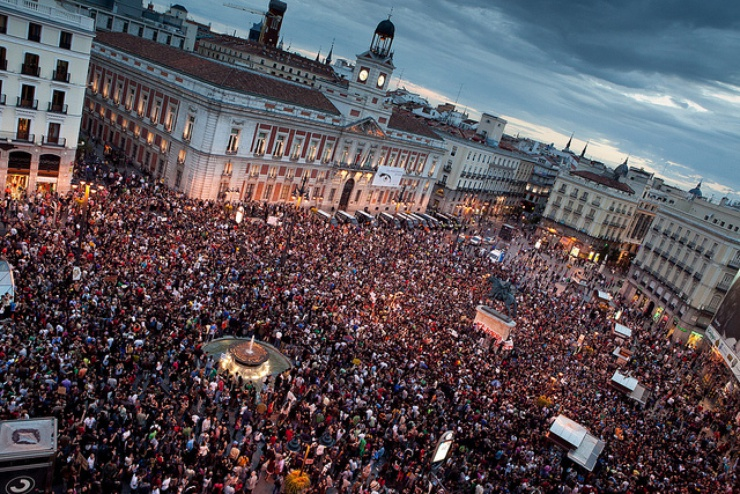 So sah es auf dem Platz Puerta del Sol am Abend des 17. Mai 2011 aus.
