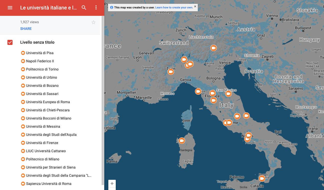 Mapa de las universidades de Italia. Fuente: Conferencia de Rectores de Universidades Italianas.