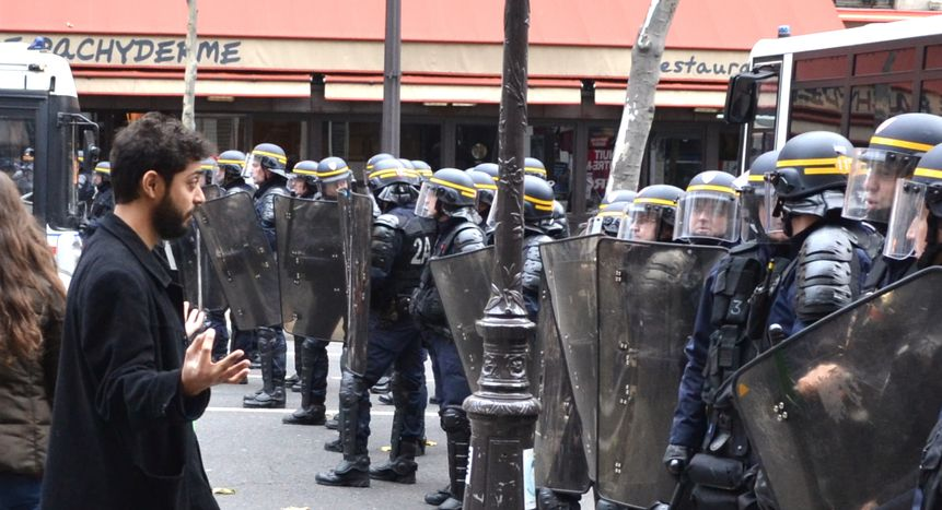Image for Paris: Protests clash with police at cancelled COP21 march
