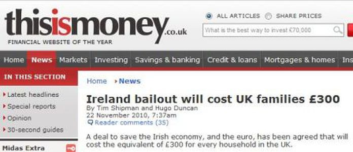 Image for European taxpayers are going to pay to bail out Ireland... Not