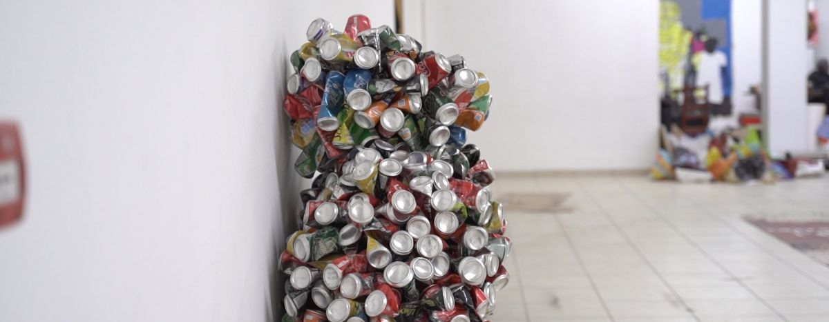 Image for Eddy Ekete: the artist using tin cans to critique our 'stupid age'