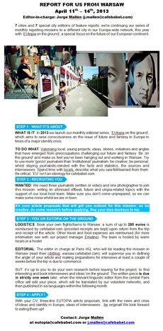 Image for Call for journalists/ photographers: 'EUtopia' on the ground, 11-14 April 2013, Warsaw (closed)