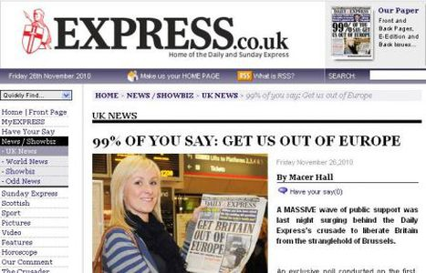 Image for 99% of people want Britain out of the EU? Daily Express North Korea's style polling