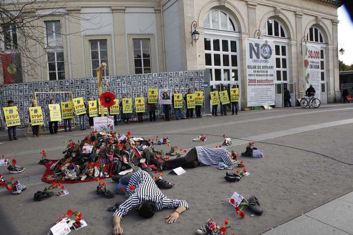 Image for Fleurs pendues, Place Denfert Rochereau en souvenir des jeunes filles exécutées en Iran